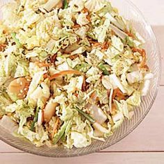 Chinese Coleslaw Recipe -We use this recipe a lot, especially in the summer. Everyone in the family enjoys it. It's great for barbecues, served with chicken and a little bread. Chinese Coleslaw, Asian Coleslaw, Napa Cabbage, Cabbage Salad, Cooking Recipes, Healthy Recipes, Healthy Eats, Shredded Carrot, Beef Chuck Roast
