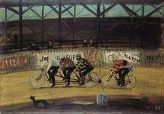 Kamil Lhoták: Na závodní dráze, 1941 Moravská galerie Brno Typography Prints, Modern Art, Bicycle, Painting, Vintage, Illustration Children, Children Books, Athlete, Chic