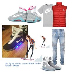 """""""Back to the future2"""" by outerego ❤ liked on Polyvore featuring NIKE, Balmain, Moncler, men's fashion and menswear"""