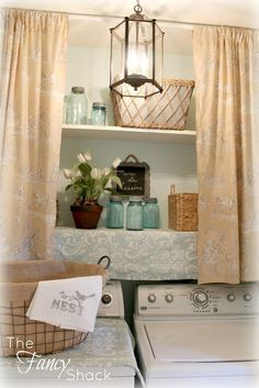 The Fancy Shack: The Laundry Room Makeover Curtains over open shelves Laundry Room Shelves, Laundry Rooms, Single Wide Mobile Homes, Laundry Room Inspiration, Home Upgrades, Home Organization, Home Improvement, Room Decor, House Design