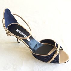 ITEM OF THE WEEK! NEW ARRIVAL! #ManoloBlahnik #opentoe #navy #heels! #Free priority shipping within U.S. #fashion #style #classic