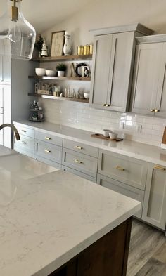 Blue Gray Kitchen Cabinets, White Cabinets White Countertops, Light Gray Cabinets, Gray And White Kitchen, Brown Cabinets, Rustic Cabinets, Hardware For Kitchen Cabinets, Kitchen Cabinet Knobs, Light Grey Kitchens