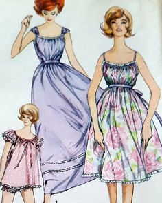 Vintage 1950's 1960's Simplicity Pattern 3948 Nightgown Panties 1960s 16/36 #Simplicity #NightgownNightgown 1950s Dress Patterns, Skirt Patterns Sewing, Simplicity Sewing Patterns, Vintage Sewing Patterns, Sun Dresses, Petite Dresses, Nightgowns For Women, Vintage 1950s Dresses, Miss Dress