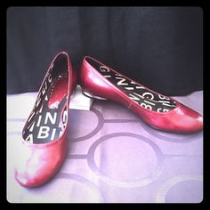 Gianni Bini Red Flats These cute Gianni Bini flats are in good condition. The shoes have a sparkle in the rich red color and the heel is silver. There are some scuff marks on the shoes and the price reflects that. Gianni Bini Shoes Flats & Loafers