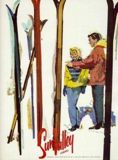Sunvalley Vintage Ski Travel Poster Repro 16x20 | eBay