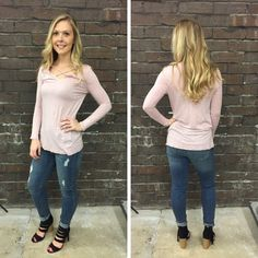 We love the simple criss-cross detailing on this blush colored top! - $30 #springfashion #spring  #fashionista #shoplocal #aldm #apricotlaneboutique #apricotlanedesmoines #shopaldm #desmoines #valleywestmall #fashion #apricotlane #newarrival  #shopalb  #ootd #westdesmoines  #shopapricotlaneboutiquedesmoines #ontrend