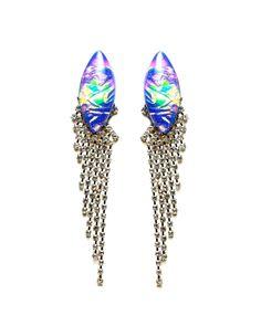 Holographic Purple Drape Earrings - JewelMint