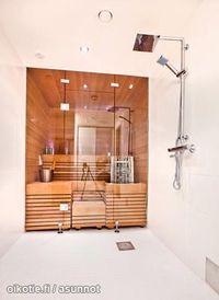 seamless transition wet and sauna area Sauna Steam Room, Sauna Room, Modern Bathroom Design, Bathroom Interior Design, Spas, Basement Sauna, Modern Saunas, Sauna Shower, Sauna House