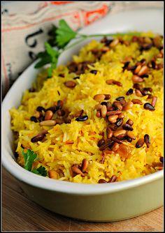 Saffron Rice with Raisins and Pine Nuts