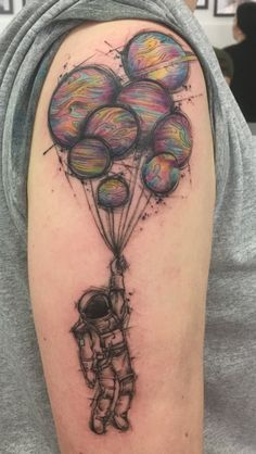 Technicolour space tattoo by the incredible Cynthia at Alchemy Tattoo, Hawthorn