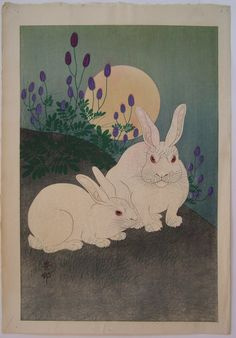 Rabbits with Bush Clover Under Full Moon, Ohara Koson Ohara Koson (小原古邨) was the most famous artist specializing in kacho-e (bird and flower prints) in the shin-hanga movement. His works were exported to Western countries where they were met with great success.