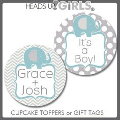 Personalized Blue and Gray Elephants Cupcake Toppers or Gift Tags for Baby Showers by HeadsUpGirls, $8.00