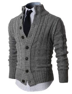 H2H Mens High-neck Twisted Knit Cardigan Sweater with Button Details