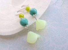 Yellow and Turquoise earrings Pale Yellow by HappyTearsbyMicah, $14.00