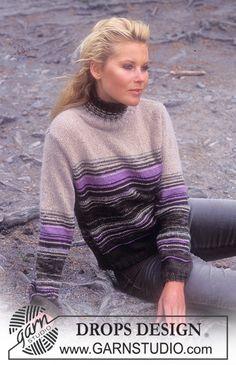 DROPS bluse med striber i «Angora-Tweed» og «Karisma Superwash». Gratis opskrifter fra DROPS Design.