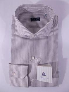 FINAMORE camicia UOMO sartoriale classica 100% MUSSOLA COTONE righe tg. 39 NWT