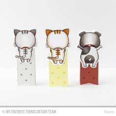 Handmade bookmarks from Torico featuring Birdie Brown Cool Cat and Lucky Dog #mftstamps