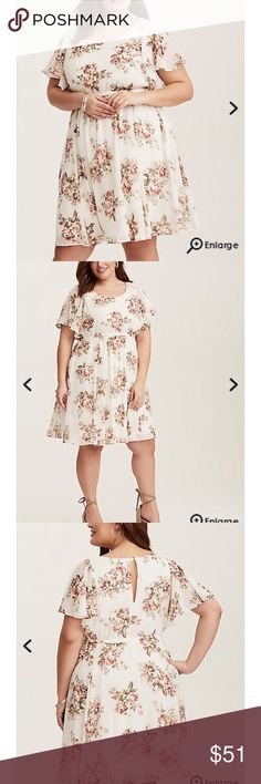 NWT Torrid Ivory floral flutter sleeve dress 3 NWT ivory floral flutter sleeve dress from Torrid. Still for sale on the site for $69 but I'm past the return period and it's too big for my bust. This style of dress is super flattering. The print is a muted vintage-esque floral on an ivory background. Very pretty! torrid Dresses