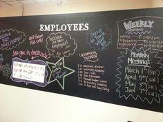 Employee chalk board wall #diy