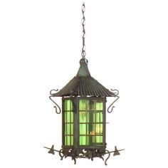 Arts & Crafts Green Glass Lantern | From a unique collection of antique and modern lanterns at http://www.1stdibs.com/furniture/lighting/lanterns/