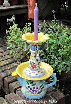 Watering can candlestick whimsy by Garden Whimsies by Mary