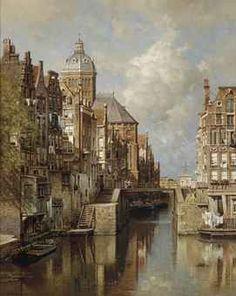 Johannes Christiaan Karel Klinkenberg, A view of the Oudezijdskolk and the St. Nicolaaskerk in Amsterdam