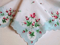 Cameo Rose Acqua Vintage Style Cotton Hankie - Vintage Style Hankies - Roses And Teacups