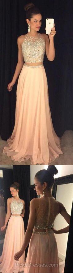Two Pieces Prom Dresses 2018, Long Prom Dresses Chiffon, A-Line Prom Dresses Beading, Sexy Prom Dresses Unique