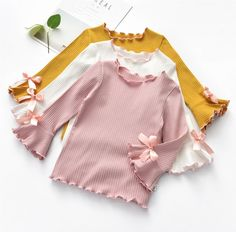 Girl Trumpet Sleeve Top Solid Color Wooden Ear Long Sleeve Shirt Loose T-Shirt Kids Girls Tops, Shirts For Girls, Kids Shirts, Long Sleeve Tops, Long Sleeve Shirts, Bow Shirts, Girls Blouse, Cute Outfits For Kids, Shirt Outfit