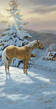 Beautiful scene of a palomino horse in the snow - 'Sunny Breakthrough' ~ Persis Clayton Weirs