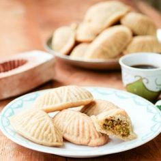 A traditional semolina cookie stuffed with pistachio sweetened with rose and orange blossom syrup
