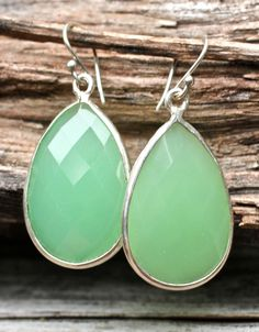 Light Green Earrings Honeydew MelonTear Drop