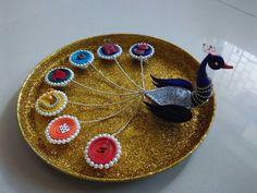 Aarti thali decoration Diwali Decorations, Festival Decorations, Handmade Decorations, Diwali Diy, Diwali Craft, Arti Thali Decoration, Rakhi Design, Wedding Gift Wrapping, Flower Rangoli