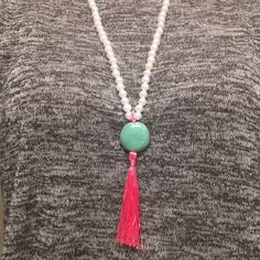 Tassel Necklace Pearls, Turquoise Stone, and Pink Tassel Jewelry Necklaces