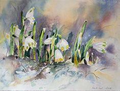 ... und dann wurde es warm (c) Aquarell mit Märzenbecher von Hanka Koebsch Painting Snow, Watercolour Painting, Watercolor Flowers, Pansies, Daffodils, Tulips, Solomons Seal, Drawing For Beginners, Growing Flowers
