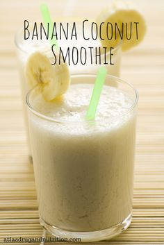 "Banana coconut smoothie. This smoothie is as delicious as it is creamy. Here's the best part: it's simple to make and made with ""clean"" ingredients. Get this and 19 more awesome clean eating recipes here."