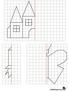 Reproduce a drawing by axial symmetry on grid Geometry Activities, Preschool Activities, Teaching Kids, Kids Learning, Symmetry Worksheets, Perspective Drawing Lessons, Symmetry Art, Graph Paper Art, Montessori Math