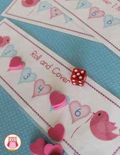 Valentine math activities for young kids.  Practice the following:  ✔subitizing ✔numeral recognition ✔plus one addition ✔one less subtraction With this free roll and cover game.