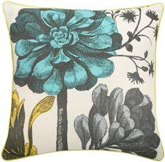 Thomas Paul Botanical Aqua 22x22 Throw Pillow