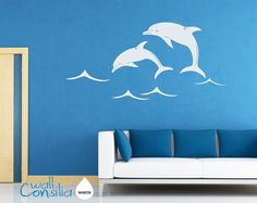 Dolphins Wall Decal - Wall Sticker - Large: Whole Scene is 60 wide and 37 high. - W021 via Etsy
