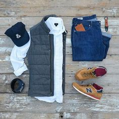 In Between Seasons Grid by @mycreativelook Follow @stylishgridgame www.StylishGridGame.com Brands ⤵ Gilet: @bananarepublic Shirt + Jeans: @jcrewmens Trainers: @newbalance Socks: @deadsoxy Belt: @ansonbelt Wallet + Fob: @woolly.us Hat: @wwolfandman