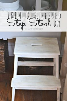 Ikea Painted & Distressed Step Stool #diy