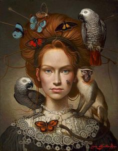"""Ukrainian-born Canadian painter* Yanina (Yana) Movchan was born in Kiev. Yana's sublime mastery of the technique and structure of Renaissance painting* combines with the instinctive symbolism* of """"magical realism"""" to create a personal neo-realist idiom. Art And Illustration, Illustrations, Arte Fashion, Magic Realism, Renaissance Paintings, Arte Pop, Portrait Art, Art Inspo, Amazing Art"""