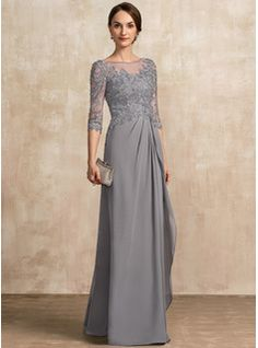 A-Line/Princess Scoop Neck Floor-Length Chiffon Lace Mother of the Bride Dress With Beading Sequins Cascading Ruffles - JJ's House Mother Of The Bride Dresses Long, Mothers Dresses, Mob Dresses, Bridesmaid Dresses, Chiffon Dresses, Fashion Dresses, Dress With Bow, The Dress, Vestidos Mob