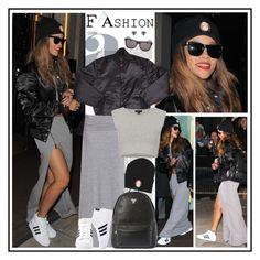 """Rihanna in London, Feb 17"" by robilollo ❤ liked on Polyvore featuring RetroSuperFuture, Silver Spoon Attire, Splendid, Joyrich, adidas, Topshop, celebrity style, street style, celebs and rihanna"