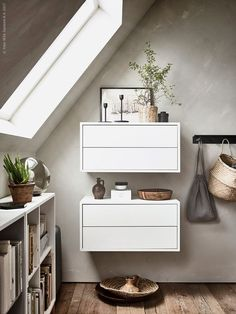 Two EKET cabinets with 2 drawers in white present pretty decoration . - Ikea DIY - The best IKEA hacks all in one place Attic Rooms, Attic Spaces, Ikea Eket, Decoracion Vintage Chic, Small Guest Rooms, Gravity Home, Relaxation Room, Guest Room Office, Home Office