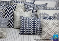 Cottons and blends sport pure geometrics... prints & patterns in home textiles... at the IHGF Delhi Fair, Autumn 2015 #hometextiles #homedecor #tradeshow
