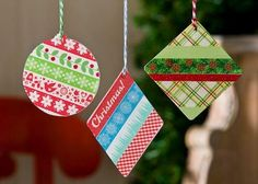 Washi Tape Ornaments | AllFreeHolidayCrafts.com