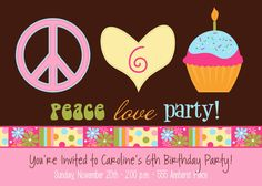 Peace Love Party Hippie  Custom Printable by allisonpowelldesigns, $15.00