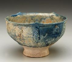 Bowl, stone-paste painted with glaze.:  Iran, 12th century. Photograph and description taken from Freer and the Sackler (Smithsonian) Museums.